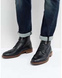 Dune - Pebble Brogue Boots In Black - Lyst