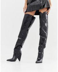 LAMODA Schwarze Overknee-Stiefel mit kegelförmigem Absatz