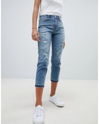 Hollister Dark Destroyed Girlfriend Jeans