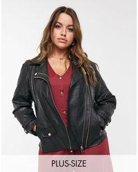River Island Double Zip Faux Leather Biker Jacket - Black