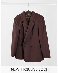 Collusion Unisex Oversized Double Breasted Dad Blazer - Brown