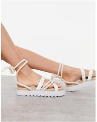 Truffle Collection Chunky Tie Leg Espadrille Sandals - Natural