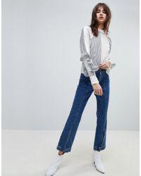 Gestuz Wide Leg Jeans With Button Hem - Blue