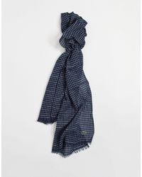 Lacoste – Schal aus Baumwoll-Leinen-Mischung mit kleinem Karomuster - Blau