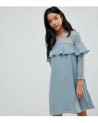 Elise Ryan Petite - Shift Dress With Ruffle Detail - Lyst