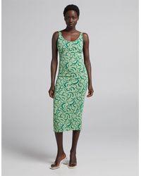 Bershka Retro Print Midi Dress - Green