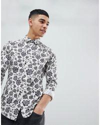 ASOS Skinny Fit Shirt In Floral Print - Natural