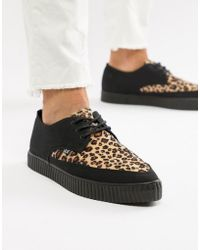 T.U.K. - Pointed Faux Leather Creeper Plimsolls With Leopard Print - Lyst