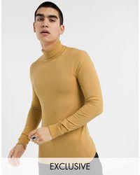 Collusion Skinny Long Sleeve Roll Neck T-shirt-tan - Natural