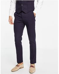 ASOS Wedding Super Skinny Wool-mix Suit Trousers With Navy Grid Check - Blue