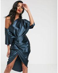 ASOS Gedrapeerde Asymmetrische Midi-jurk Van Satijn - Blauw