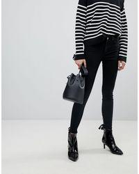 Pieces Skinny Jeans Met Lintjes Aan - Zwart