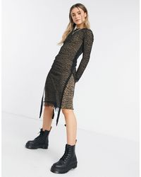 AllSaints - Серо-коричневое Платье Kiara Linleo-коричневый - Lyst