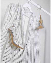 Flounce London - Club - Vestito drappeggiato con scollo profondo argento - Lyst