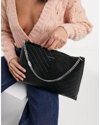 Karen Millen Avery Leather Shoulder Bag - Black
