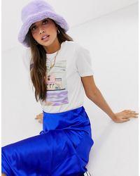 ASOS Faux Fur Roll Back Bucket Hat - Purple