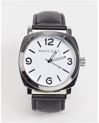 Brave Soul Watch With Black Strap And White Dial