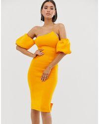 ASOS - Bubble Sleeves Asymmetric Midi Dress - Lyst