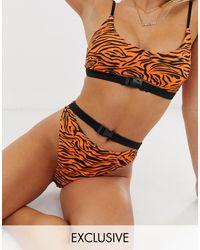 South Beach Плавки Бикини С Тигровым Принтом, Высоким Вырезом По Бедру И Пряжкой -оранжевый