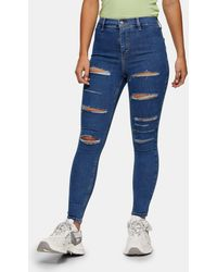 Topshop Unique Mid Blue Super Rip Joni Jeans