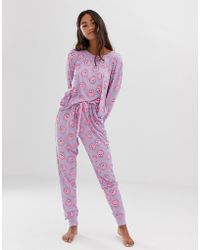 Chelsea Peers Pomeranian Printed Long Pyjama Set In Purple