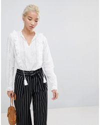 New Look - Cut Work Frill Blouse - Lyst