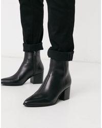 ASOS Черные Кожаные Ботинки Челси С Острым Носом - Черный