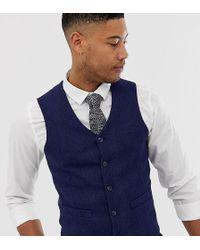 2ec2b787f960 ASOS - Tall Wedding Skinny Suit Vest In Blue Wool Blend Herringbone - Lyst