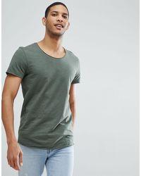 Jack & Jones – Essentials – Lang geschnittenes T-Shirt mit U-Ausschnitt - Grün