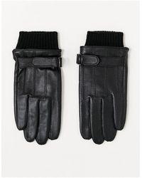 ASOS Черные Кожаные Перчатки Для Сенсорных Экранов С Манжетами - Черный