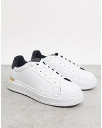 River Island Gold Trim Sneaker With Black Croc - White