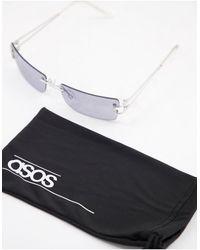 ASOS - Серебристые Квадратные Солнцезащитные Очки В Стиле 90-х Без Оправы С Отделкой Стразами И Вырезами - Lyst