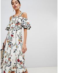 C/meo Collective - Floral Printed Midi Dress - Lyst
