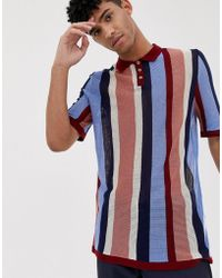 f3fa6b89b1 ASOS Relaxed Polo With Rainbow Vertical Stripe in Blue for Men - Lyst