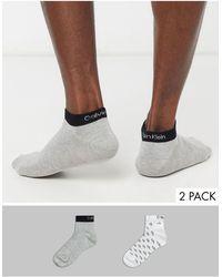 Calvin Klein 2 Pack All Over Logo Trainer Socks - White