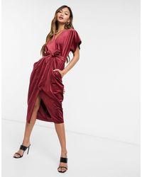 Closet Бархатное Платье Миди Цвета Красного Вина С Рукавами Кимоно И Запахом -красный