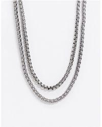 Reclaimed (vintage) Inspired - Collana doppia spessa argento brunito - Metallizzato