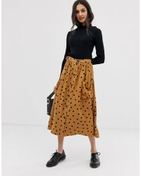 ASOS Button Front Midi Skirt In Polka Dot With Oversized Pockets