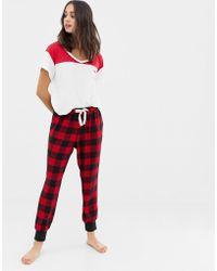 Hollister Pantalones de pijama de cuadros - Rojo