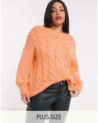 Simply Be Вязаный Джемпер Персикового Цвета -оранжевый
