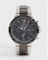 Steve Madden Mens Gunmetal Two Tone Watch With Black Dial