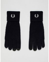 Fred Perry - Merino Wool Logo Gloves In Navy - Lyst