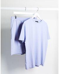 ASOS – Lounge-Pyjamaset mit T-Shirt und Shorts - Lila