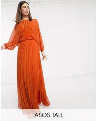 ASOS Плиссированное Платье Макси С Пышным Рукавом На Манжете И Поясом - Оранжевый