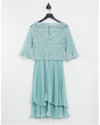 Oasis Bridesmaid Tiered Midi Dress With Flute Sleeve - Green