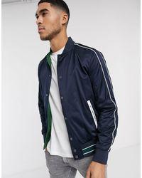 Calvin Klein Reversible Satin Bomber Jacket - Blue