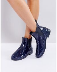 HUNTER - Refined Constellation Print Chelsea Gumboots - Lyst