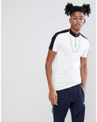 ASOS - Design Muscle Fit Turtle Neck T-shirt With Zip And Contrast Panels - Lyst