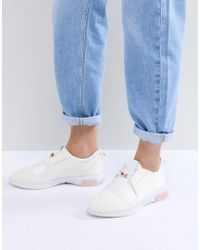 Ted Baker - Cepas White And Rose Gold Strap Trainers - Lyst