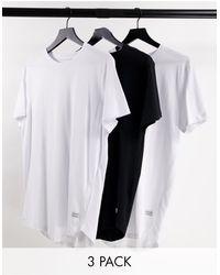 Jack & Jones Набор Из 3 Удлиненных Футболок Белого, Белого И Черного Цвета С Асимметричным Краем Originals-разноцветный - Черный